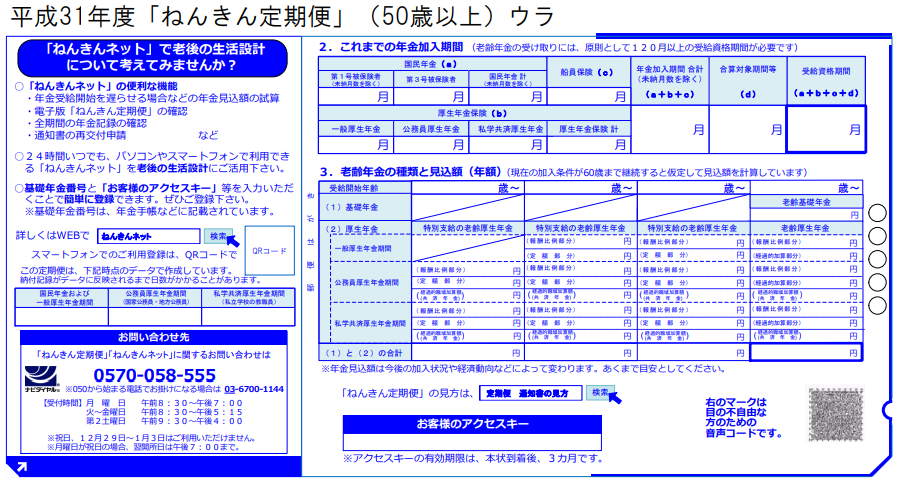 ねんきん定期便(ハガキ)50歳以上・裏