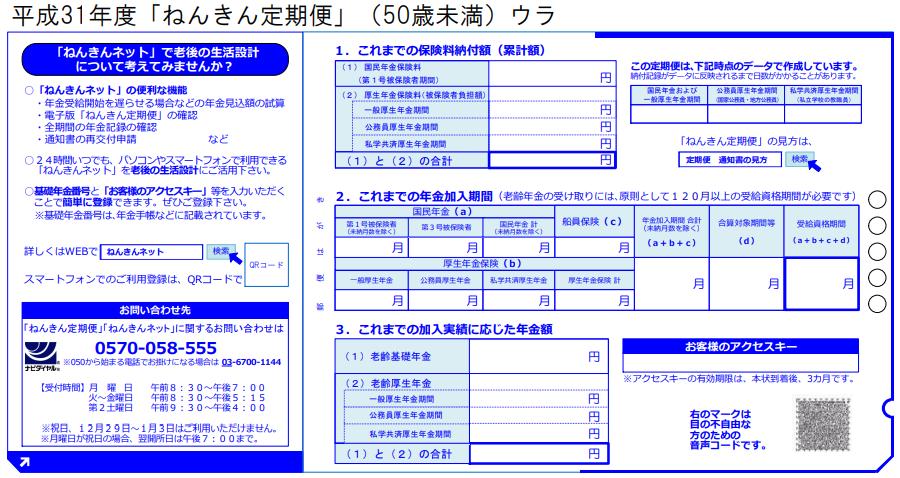 ねんきん定期便(ハガキ)50歳未満・裏