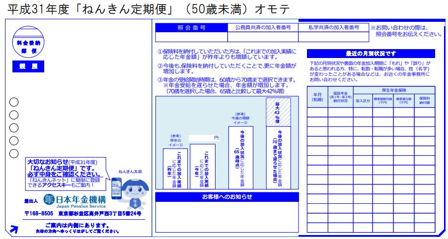 ねんきん定期便(ハガキ)50歳未満・表