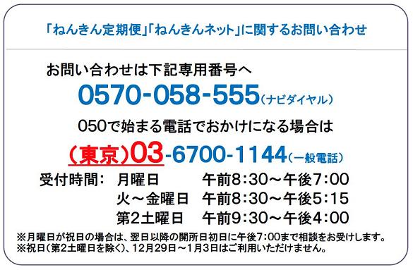 ねんきん定期便・ねんきんネット専用電話番号